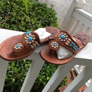 JACK ROGERS TURQUOISE/CORAL STONE SANDALS